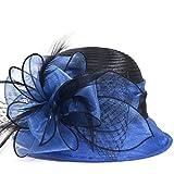 Cloche Oaks Church Dress Bowler Derby Wedding Hat Party S015 (Satin-Blue)