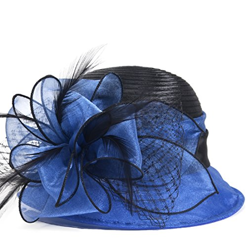 HISSHE Cloche Oaks Church Dress Bowler Derby Wedding Hat Party S015 (Satin-Blue) (Kentucky Oaks Derby)