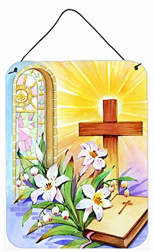 Caroline's Treasures Easter Cross & Bible in Stain Glass