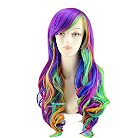 25″ Women's Long Anime Costume Curly Wavy Rainbow Hair Cosplay Party Wig +Wig Cap (Multi-Color)