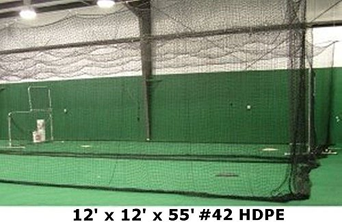 Batting Cage Net 12' W x 12' H x 55' L #42 HDPE Heavy Duty Baseball Softball Netting by Jones Sports