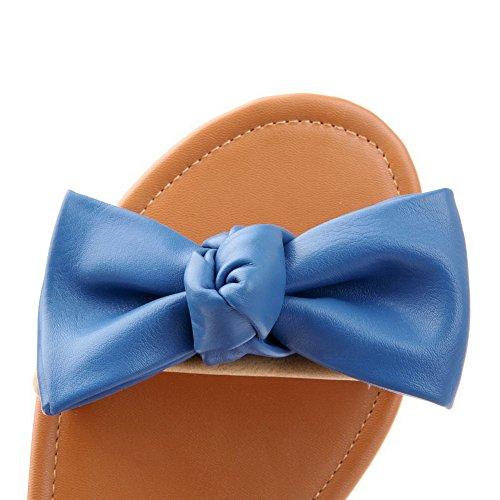 Bas Talon 1 Souples Bleu Ouverture à Matière D'Orteil Couleur Boucle 5 femme Sandales Unie AalarDom qHtpUw