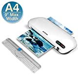 Laminating Machine, JZBRAIN A4 Laminator Machine with Trimmer, Fast Warm-Up, Quick Laminating Speed, 9 inches Thermal Laminator for Home Office School Use ( White)
