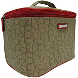 Calvin Klein Makeup Cosmetic Bag Train Case Synthetic (khaki/brown/red)