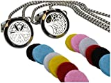 """Tree Of Life and Flower of Life Essential Oil Diffuser Necklace Stainless Steel Locket Pendant with 24"""" Chain + 12 Refill Pads"""
