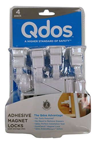 (QDOS SureCatch Adhesive Magnetic Cabinet Lock | 4 Locks + 1 Key | White - Perfect Installation The First time - No Removing Drawers! No Drilling! No Tools Required! Only for Standard Framed Cabinets)