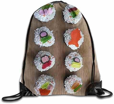b2a713a8b5a6 OLGCZM Sushi Cupcakes Drawstring Backpack Bag Shoulder Bags Gym Bag For  Adult