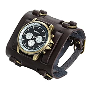 Avaner Mens Retro Steampunk Rock Black Wide Leather Bracelet Cuff Watches Big Face Round Dial Analog Quartz Sport Watch [Upgraded] Japanese Quartz Movement Watch (Brown-1)