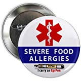 SEVERE FOOD ALLERGIES EpiPen Allergy Medical Alert 2.25 inch Pinback Button Badge