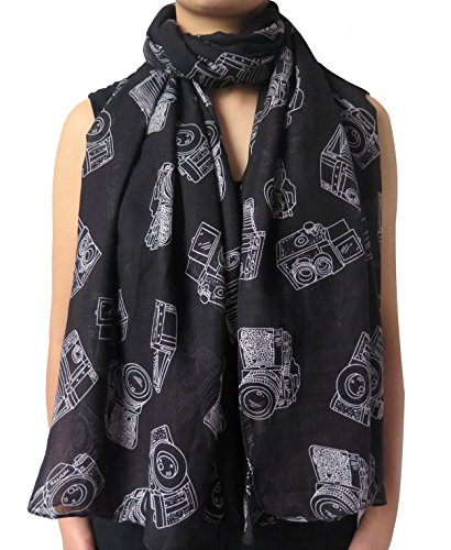Lina & Lily Vintage Camera Print Scarf Lightweight (Black)