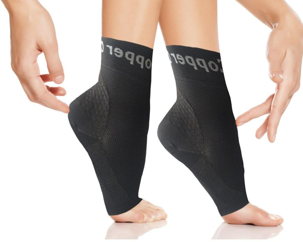 Copper Compression Gear Plantar Fasciitis Foot Sleeves/Support Socks - Reduce Swelling, Speed Up Recovery, Get INSTANT Relief & Support! (1-PAIR) (Large - Pair)