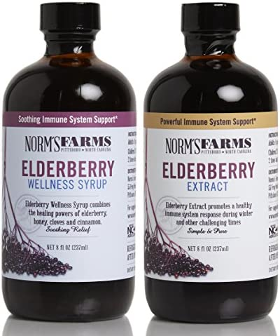 Norm s Farms Supplement Two Pack, Black Elderberry Wellness Syrup and Black Elderberry Extract, 8 Ounce Jars