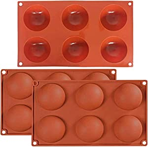 ORNOOU 3 Pack Sphere Chocolate Silicone Mold 6 Holes Large Hemisphere Dome Silicone Mold 6 Cavities Semisphere Teacake Resin Molds