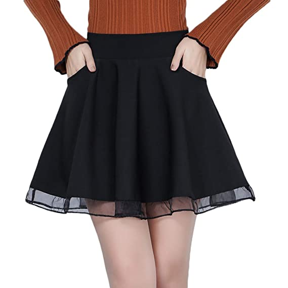 Quge Mujer Color Sólido Mini Falda Otoño Invierno A Línea Faldas ...