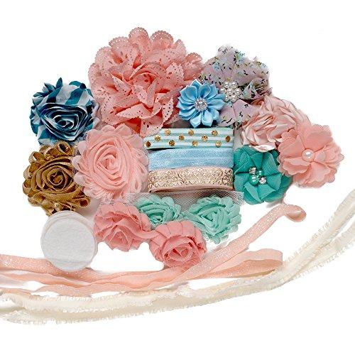 Sea Breeze : DIY Baby Shower Headband Kit Makes 10 Unique Hair Accessories : Shabby Chiffon Craft Roses Elastics : Toddler Tween Peach Mint Floral