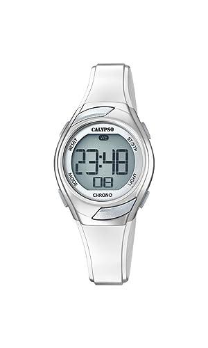 Calypso K5738/1, Reloj Digital para Mujer de Cuarzo con Correa de Plástico, Plateado: Amazon.es: Relojes