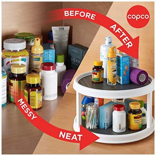 Kitchen Copco Non-Skid 2 Tier Turntable, 12-Inch, White/Gray lazy susans