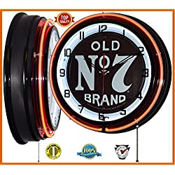 "18"" Jack Daniel's Old No. 7 Brand Sign Orange Double Neon Clock"