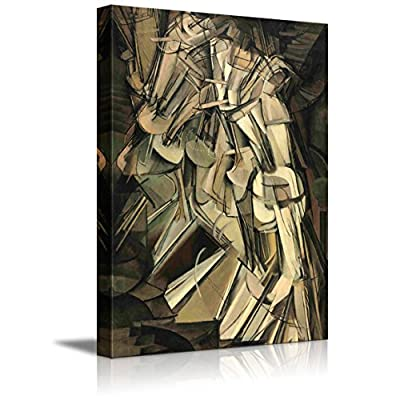 Nude Descending a Staircase No. 2 by Marcel Duchamp - Canvas Print Wall Art Famous Painting Reproduction - 32