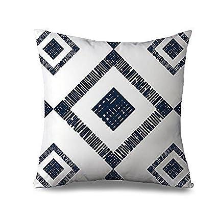 Amazon Com Fiuoleiw Geometric Pillow Cover Navy Blue Decor Square