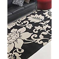 Rugsotic Carpets Hand Tufted Wool 8 x 10 Area Rug Floral Black Cream K00904