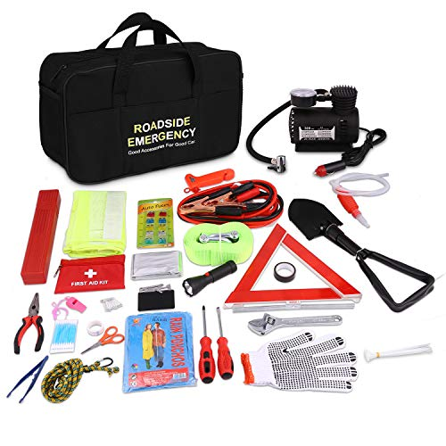- COOCHEER Auto Emergency Kit,Multifunctional Roadside Assistance 99-in-1 Car Safety Kit with Jumper Cables,Folding Military Shovel,Air Compressor,Tow Rope,Triangle,Flashlight,Tire Pressure Gauges etc.