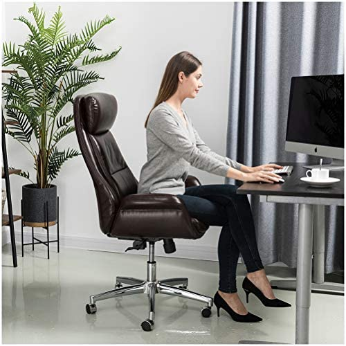 Glitzhome Adjustable High-Back Office Chair Home Executive Armrest Swivel Chair PU Leather