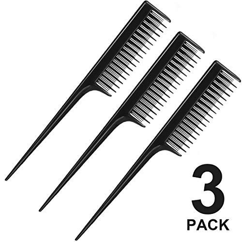 3 Piece Triple Teasing Comb, Rat Tail Combs for Women, Tool Structure Tease Layers Rattail Comb, Rat Tail Comb for Back Combing Root Teasing, Adding Volume, Evening Styling (Black)