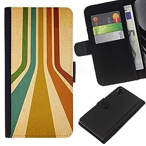 KingStore / Leather Etui en cuir / Sony Xperia Z2 D6502 / Rayas retras Colores Líneas turquesa rojo del arte