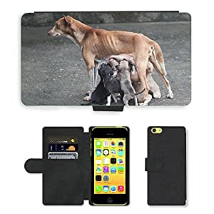 CARD POCKET BOOK CASE PU LEATHER CASE // M00103999 Perro Madre Perro Amor maternal // Apple iPhone 5C