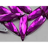 28x8mm Fuchsia CH21 Teardrop Flat Back Sew On Beads for Crafts - 30 Pieces