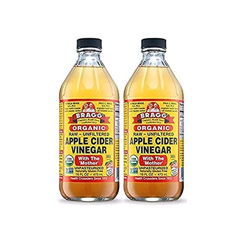 Vinegar With Bragg Mother Cider Apple (Bragg USDA Organic Raw Apple Cider Vinegar, With The Mother 16 Ounces Natural Cleanser, Promotes Weight Loss - Pack of 2)
