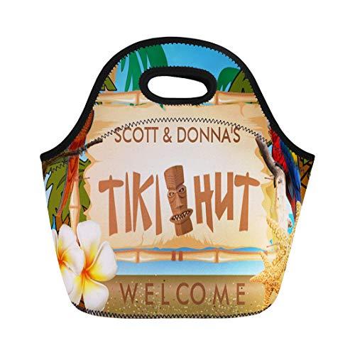 Ablitt Lunch Bags Tribal Tropical Tiki Hut Palm Tree Flowers Bar neoprene lunch bag lunchbox tote bag portable picnic bag cooler bag ()