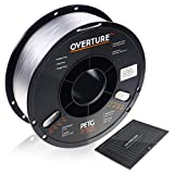 OVERTURE 3D Filament Clear PETG Filament 1.75mm with Build Surface 200mm × 200mm PETG Transparent 3D Printer Consumables, 1kg Spool (2.2lbs), Dimensional Accuracy +/- 0.05 mm, Fit Most FDM Printers