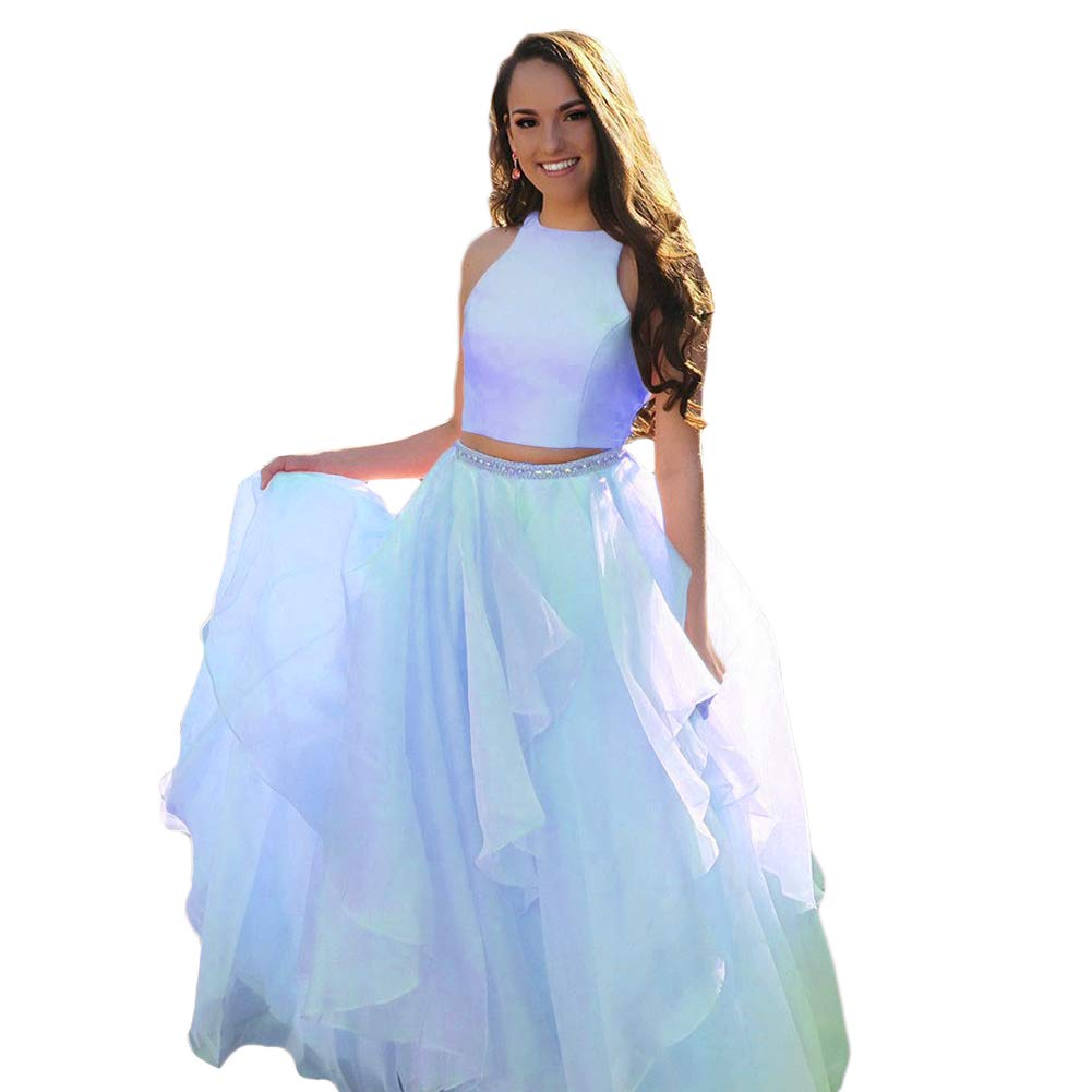bluee Liyuke Two Piece Prom Homecoming Dress Long Beaded Evening Gowns for Juniors