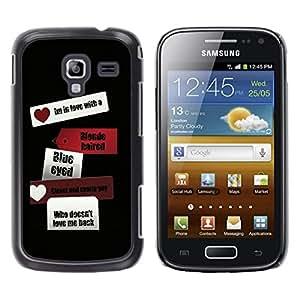 Be Good Phone Accessory // Dura Cáscara cubierta Protectora Caso Carcasa Funda de Protección para Samsung Galaxy Ace 2 I8160 Ace II X S7560M // Love Heart Black Travel Black Sign Tex