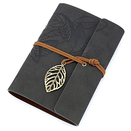 EvZ 7 Inches Vintage Black PU Leather Cover Loose Leaf Blank Notebook Journal Diary Gift
