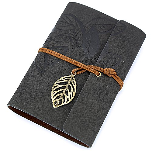 EvZ 7 Inches Vintage Black PU Leather Cover Loose Leaf Blank Notebook Journal Diary Gift - Loose Leaf Notebooks