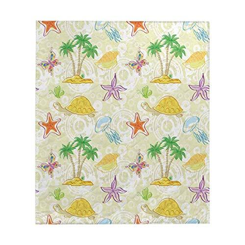 (InterestPrint Sea Island with Palm Trees, Butterflies, Shells Comforter Set Thin Quilt Lightweight Comforter)
