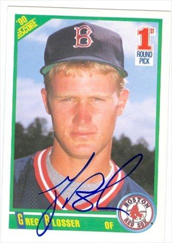 Autograph Warehouse 37216 Greg Blosser Autographed Baseball Card Boston Red Sox 1990 Score No. (1990 Score Autographed Card)