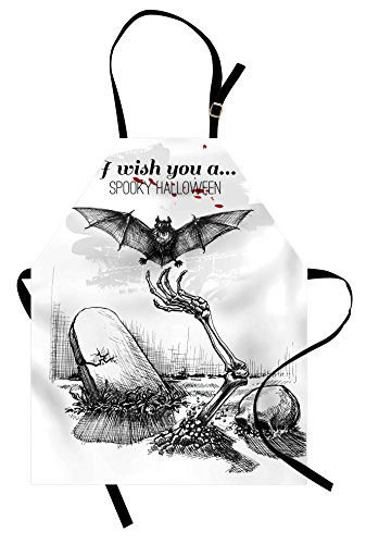 Ambesonne Halloween Apron, Dead Skull Skeleton Out of The Grave and Flying Bat Hand Drawn Spooky Picture Unisex Kitchen Bib Apron with Adjustable Neck for Cooking Baking Gardening, Black White ()