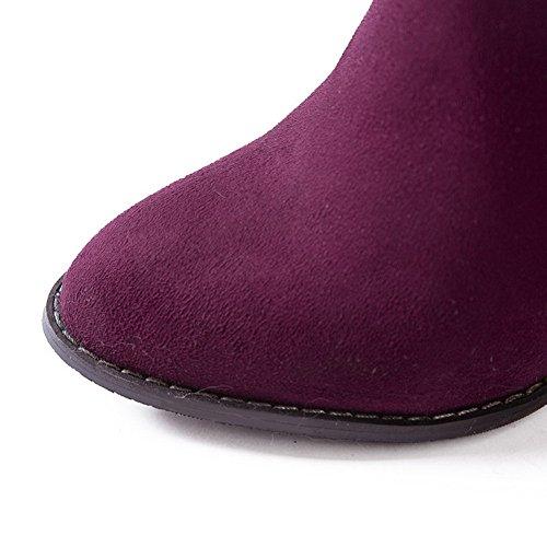 AgooLar Damen Überknie Hohe Stiefel Hoher Absatz Stiefel Rot
