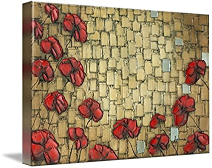 Wall Art Print entitled Abstract Gold Red Poppies by Susanna Shap ...