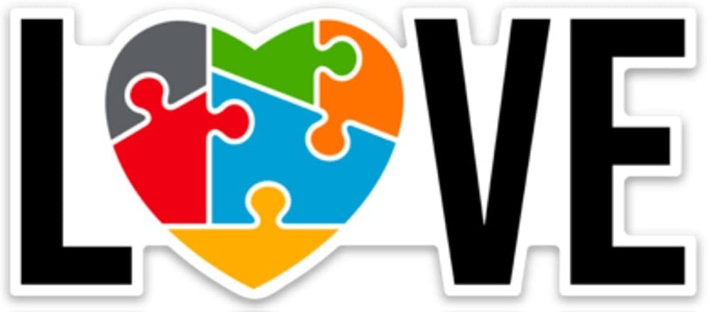 """Autism Awareness Love Heart Puzzle Sticker Decal 4"""" x 2.3"""" Laptop Car Waterbottle"""