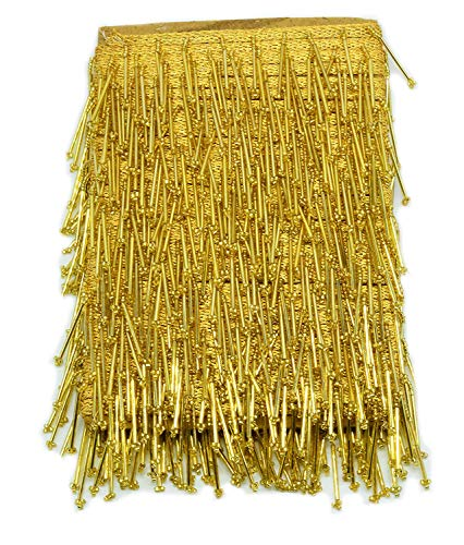 GOELX 9.5 mtr Golden Latkan Hanging Tassel Lace for Dresses, Sarees, Lehenga, Borders, Bags, Art & Craft and All Decoration Works - - Saree Border