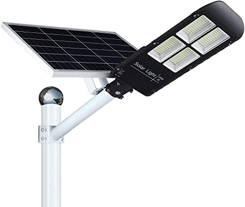 300w Solar Street Light Outdoor Dusk to Dawn, Flood Lights with Remote Control, 486 LEDs, Super Bright, Waterproof Security LED Pole Light for Yard, Garden, Pathway Mounting Brackets Included