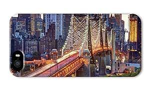 Do It Yourself DIY iphone 5 case custom cover New York City USA Manhattan Queensboro Bridge buildings lights PC 3D for Apple iPhone 5/5S