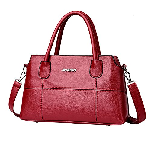 Clearance Sale! ZOMUSA Fashion Women Leather Splice Handbag Shoulder Bag Crossbody Messenger Bag Tote Bag (Red)