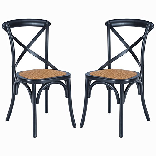 (Poly and Bark Cafton Crossback Chair in Black (Set of 2))