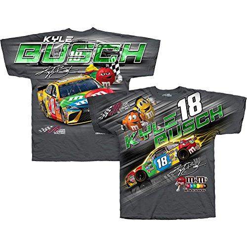 Kyle Busch Driver (NASCAR Men's-Total Print-Driver T-Shirt-Kyle Busch #18-M&M's-Gray-Medium)